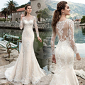 Vestido De Noiva Custom Made White/Ivory Tulle Applique Beaded Long Sleeve Lace Mermaid Wedding Dress Vestido De Casamento