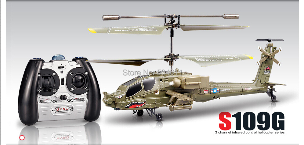 Syma S109G Apache AH 64 3.5 Channels Mini Indoor Helicopter RTF
