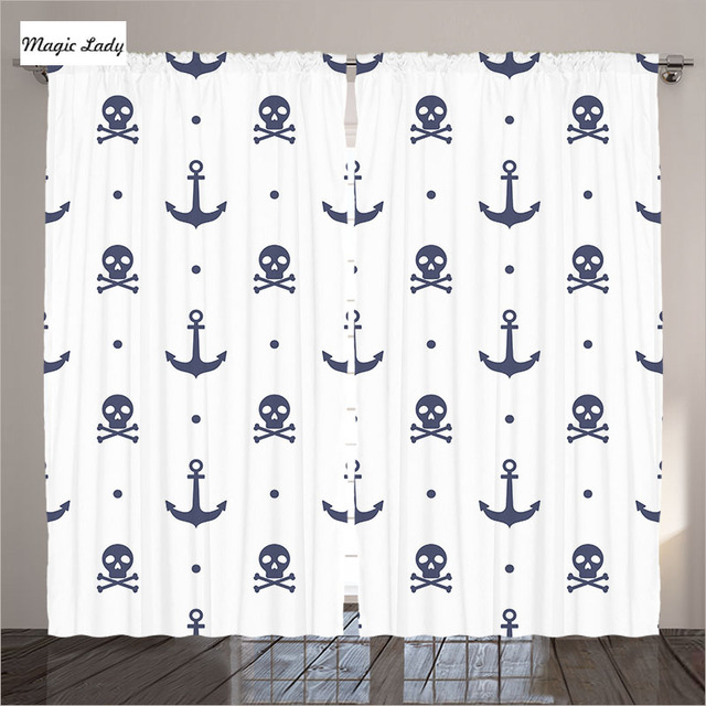 gordijnen in clubs anker decor collectie schedels gekruiste botten dot piraat blauw wit woonkamer slaapkamer 2