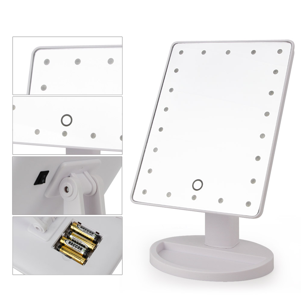 Aliexpress.com : Buy 22 LED Touch Screen Makeup Mirror Professional Vanity  Mirror Lights Health Beauty Adjustable Countertop 180 Rotating From  Reliable ...