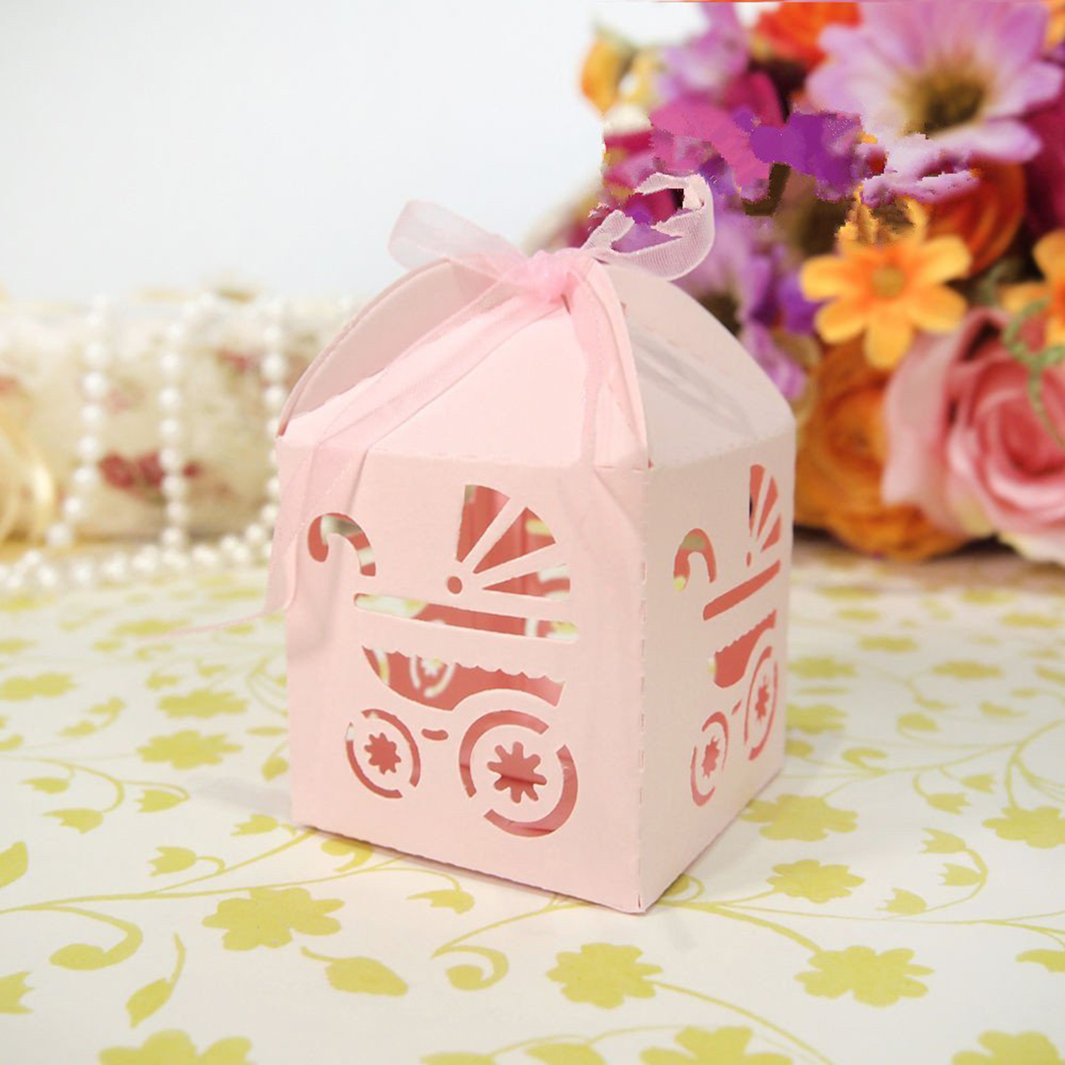 50pcs Ribbons Included Carton Wedding Candy Box / Baby Trolley Laser ...