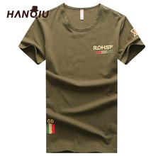 HANQIU Summer Mens T Shirts 2019 Solid Cotton Homme Cargo T-Shirt Army Military Style Tshirts Casual Comfortable Male Tee Shirt