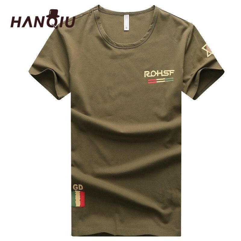 HANQIU Summer Mens T Shirts 2018 솔리드 코튼 옴므 카고 티셔츠 육군 군사 스타일 티셔츠 캐주얼 편안한 남성 티셔츠
