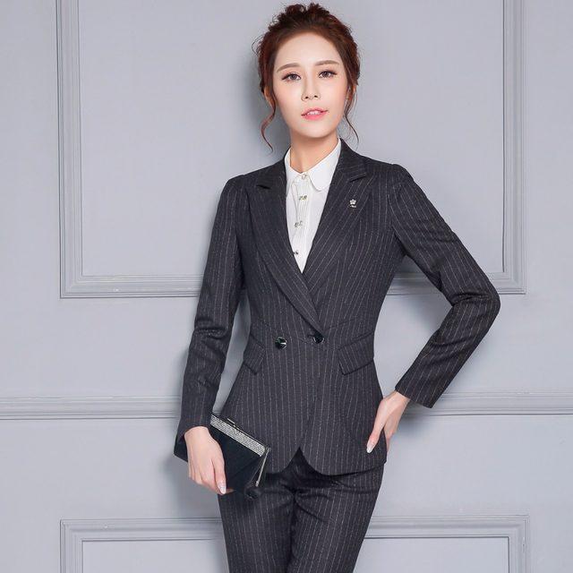 Online Shop PYJTRL Autumn Winter Office Ladies Uniform Designs ...
