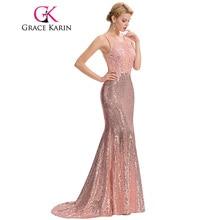 Grace Karin Luxury Mermaid Evening Dress Floor Length Backless Elegant Pink Long Evening Gowns Sequin Lace Robe De Soiree 2017