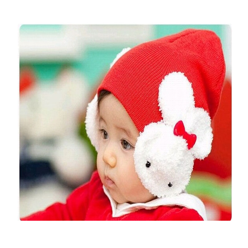 1 pcs Beautiful Cute Rabbit Boys Girls Kids Winter Warmer Ear Flap Warm Hat Beanie Cap Crohet 4 Colors Hot