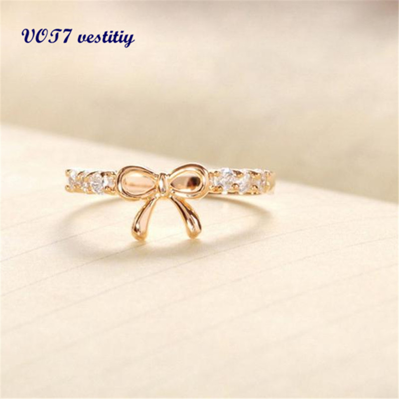 Very popular Elegant Jewelry Ring VOT7 vestitiy Korean Jewelry Simple Crystal Bow Ring 11 11 lowest