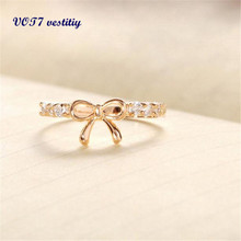 Very popular Elegant Jewelry Ring VOT7 vestitiy Korean Jewelry Simple Crystal Bow Ring 11.11 lowest price to selling