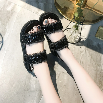 Genuine Leather Cow Suede Crystals Women Sandals Summer Shoes Woman High Heels Gladiator Sandals Ladies Beach Slippers
