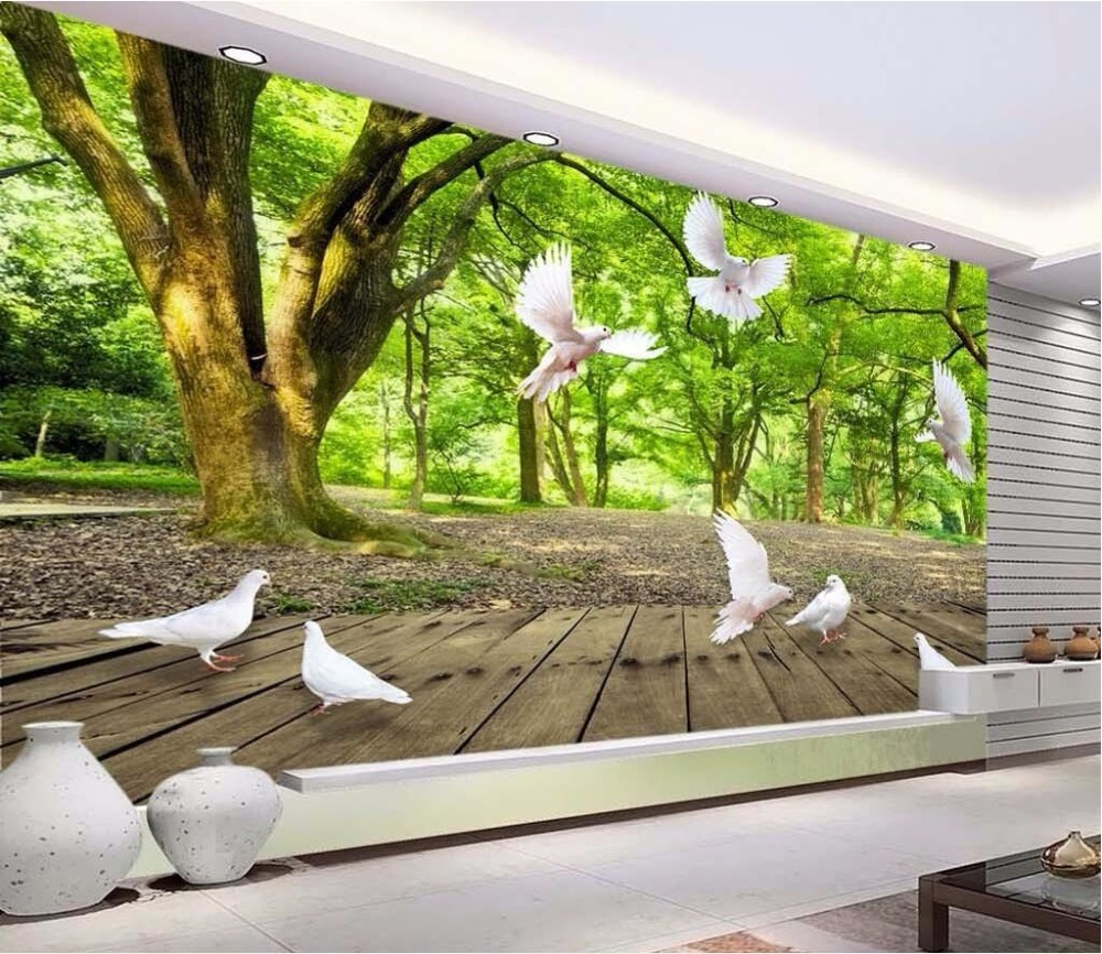 online get cheap dove paper com alibaba group custom photo 3d forests play dove decoration painting wall papers home decor 3d wall murals