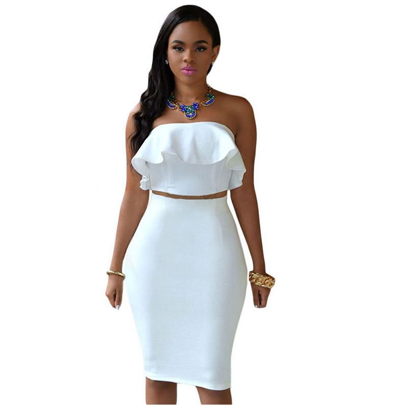 ADEWEL 2018 Women Off Shoulder Ruffles Two Piece Dress Sexy Bodycon Club Crop Top & Midi Dress Sets Party Dress Suit Vestidos (3)