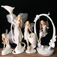 Resin Angel Home Decoration Flower Fairy Garden Figurines Candlestick Statues Wedding New Year Gifts Candle Holder Sculpture