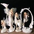 Resina Angel decoración del hogar Hada de las flores jardín figurines portavelas estatuas Boda REGALOS de Año Nuevo sostenedor de vela escultura