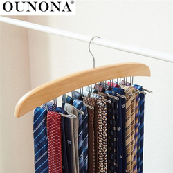 Wooden Necktie Tie Hanger Rack Scarf Organizer Holder with 24 Hooks for Home
