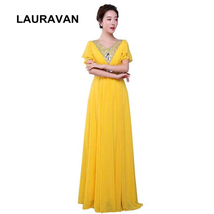 robe de soiree elegant yellow blue ladies women's chiffon girls capped sleeve party   dress   long a line   bridesmaid     dresses