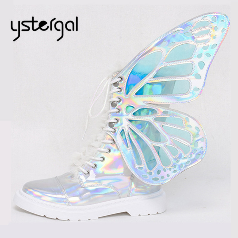 Ystergal Magic Short Ankle Boots for Women Butterfly Wings Lace Up Fashion Casual Flat Shoes Ladies Bling Botas Mujer High TopsYstergal Magic Short Ankle Boots for Women Butterfly Wings Lace Up Fashion Casual Flat Shoes Ladies Bling Botas Mujer High Tops