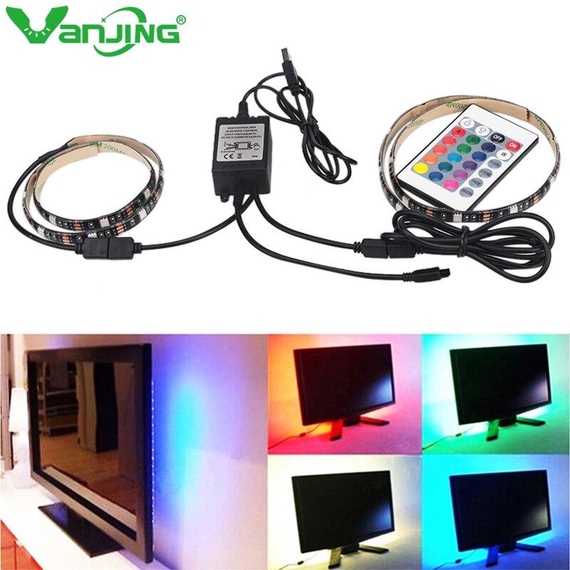 DC5V 2X50CM USB Cable Power LED Strip Light Lamp SMD 5050 Christmas Desk Decor Lamp Tape for TV Background Lighting Waterproof