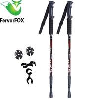 2Pcs Lot Anti Shock Nordic Walking Sticks Telescopic Trekking Hiking Poles Ultralight Walking Canes With Rubber
