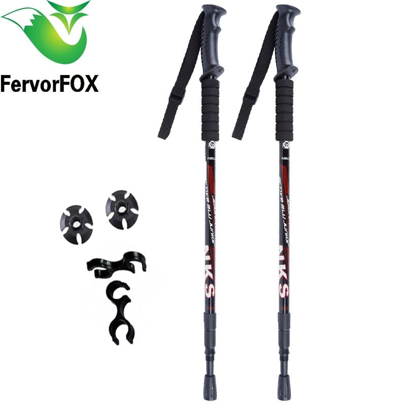2 Unids/lote Telescópica Antichoque Nordic Walking Sticks Trekking Bastones de Senderismo Ultraligero Bastones Con Puntas De Goma Protectores