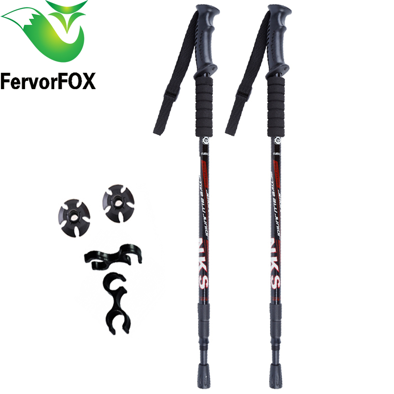 2Pcs / lot Anti Kejutan Nordic Walking Sticks Teleskopik trek Trekking Hiking Poles Ultralight Walking Canes Dengan Tips Getah Protectors