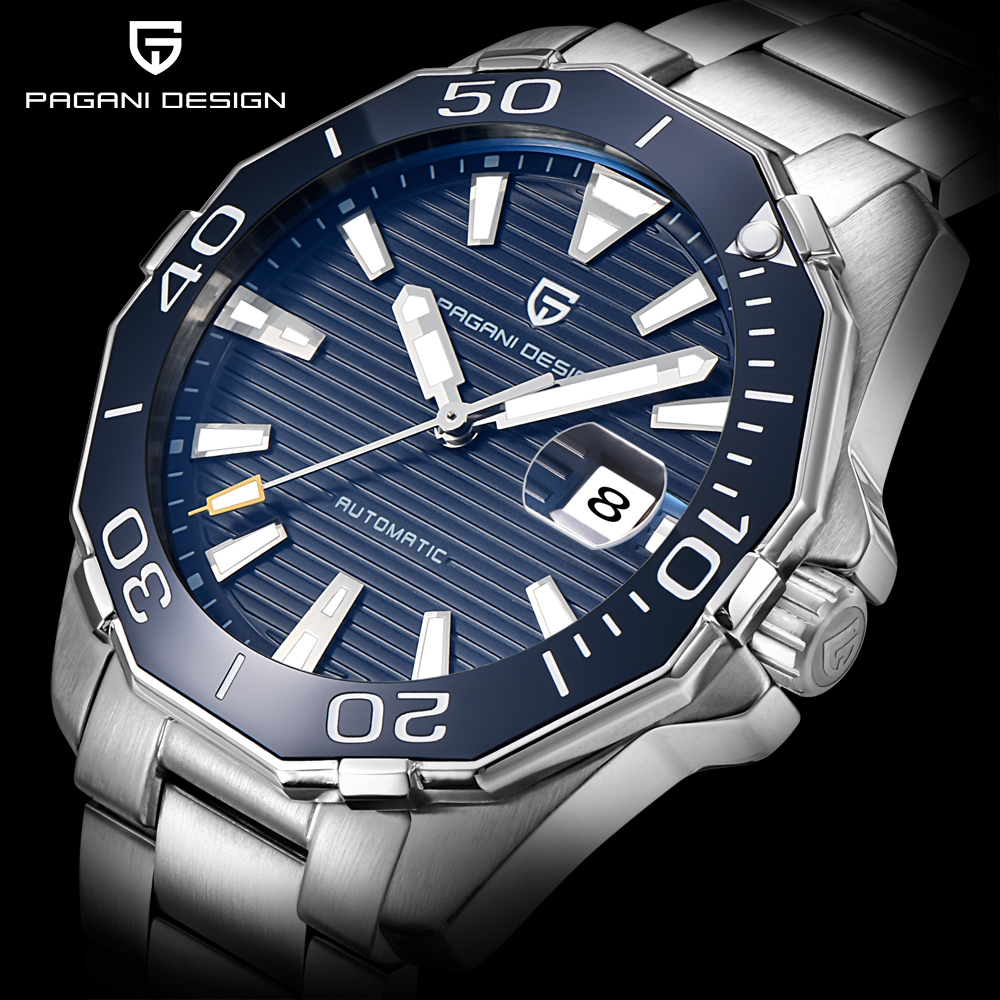 PAGANI DESIGN Men s Classic Diving Series font b Mechanical b font Watches Waterproof Steel Stainless