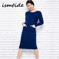 Knitted Long Sweater Dress Wool Women Autumn Winter Sweater Dress Pullovers O Neck Casual Knitted Dresses