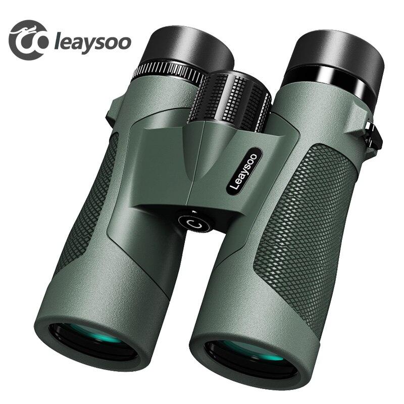 LEAYSOO 8x42 10X42 Professionnel Bas niveau de Lumière vision nocturne Binoculaire Étanche Camping Chasse Télescope Prisme Binoculaire