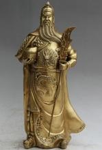 JP S62 15 «Китайский Латунь Народная Стенд Гуань Гун Юй Воин Бог Вообще меч Статуя