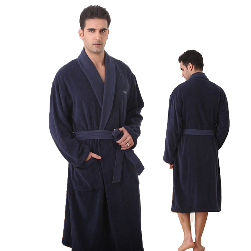 Big Size Bathrobe Men Navy Blue Thick Robe Russia Size 100% Cotton Terry Bathrobe For Men
