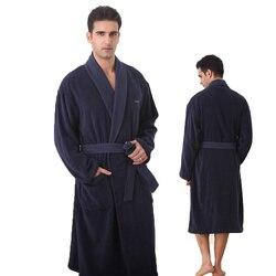Große größe bademantel männer navy blau dicke robe Russland größe 100% baumwolle terry bademantel für männer