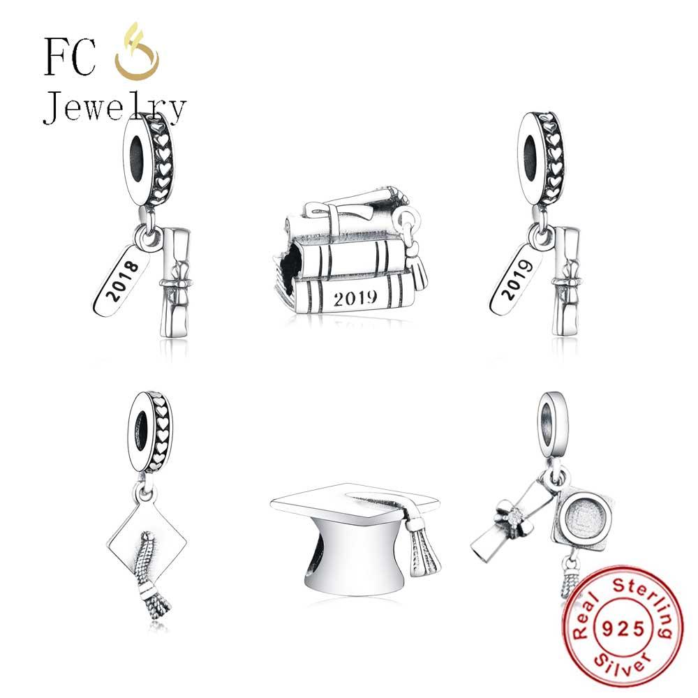 2019 Newest Fit Original Pandora Charms Bracelet 925 Sterling Silver Graduation Cap Charms DIY Jewelry Making Berloque