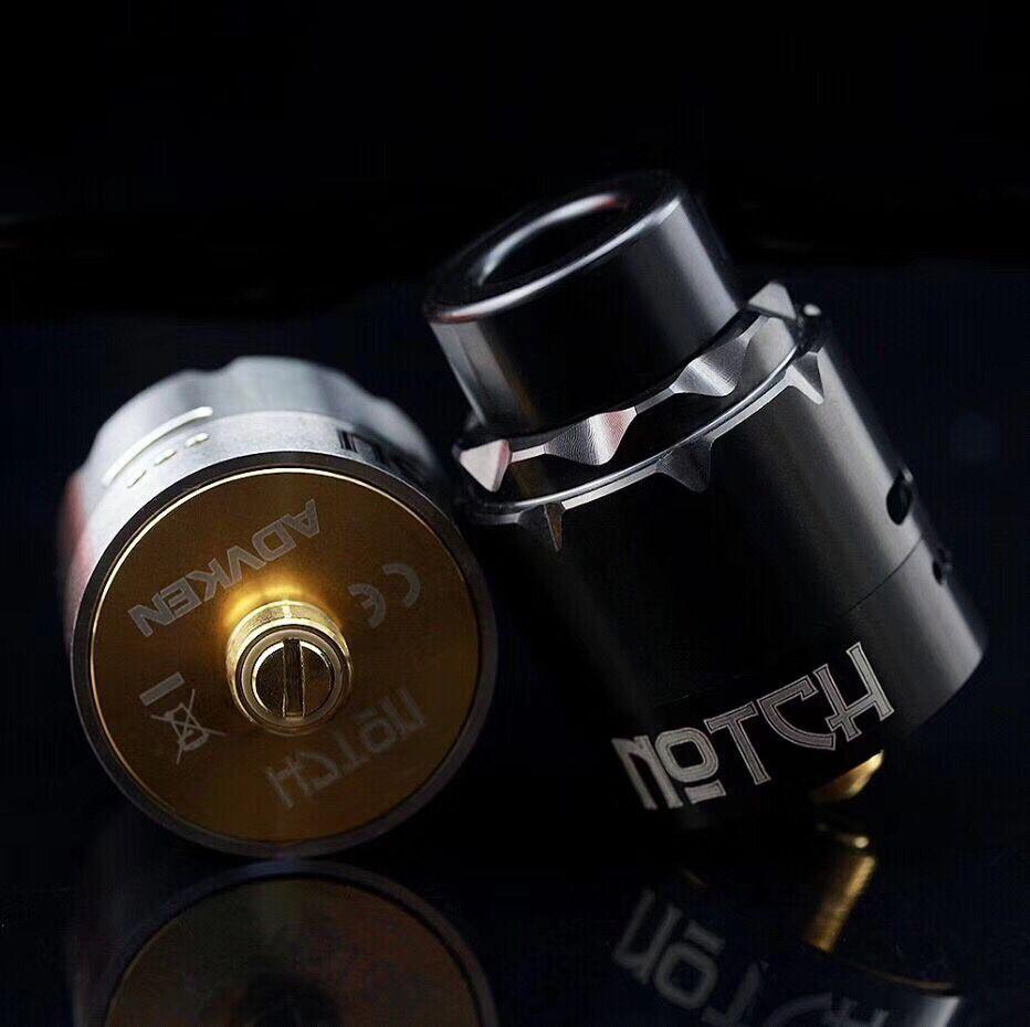 Authentique ADVKEN cran RDA avec broche d'alimentation inférieure avec deux bobines d'encoche pré-installées pour une Vape plus facile pour 510 Kit de boîte de fil Mod