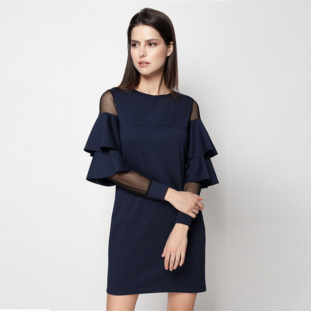 34fe515902 US $13.98 |Ruffle Sleeve A Line Office Lady Dress Round Neck Contrast Mesh  Tiered Layer Straight Women Fall Elegant Black Blue Mini Dress-in Dresses  ...