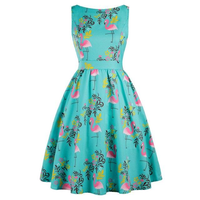 Wipalo плюс размер 3XL женские летние рокабилли Свинг старинные платье Фламинго с цветочным принтом Vestidos/Праздничная Ретро платье Vestidos Mujer