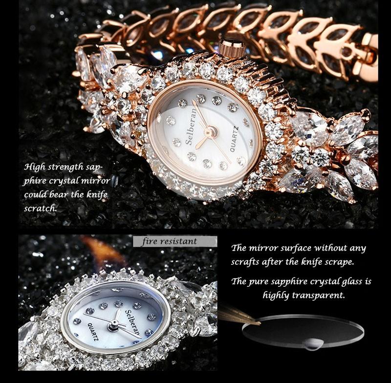 16 50M Waterproof Selberan Gold/Silver Natural Zircon Wrist Watch for Women Luxury Ladies Bracelet Watch Montre Femme Strass 8