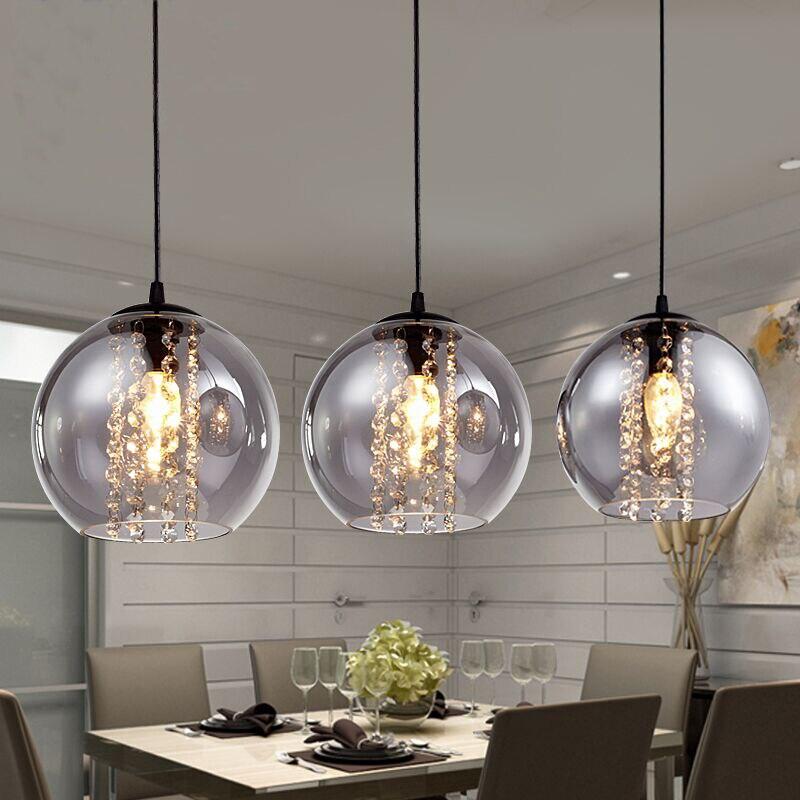 Moderne bried dia 20 cm ambre verre boule pendentif luminaire mode bricolage maison déco salon cristal E14 LED ampoule suspension