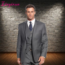 Linyixun Latest Coat Pant Designs 3 Pieces Gentleman Grey Classic Men Business Suit Regular Fit Men Suits For Wedding Groom(China)
