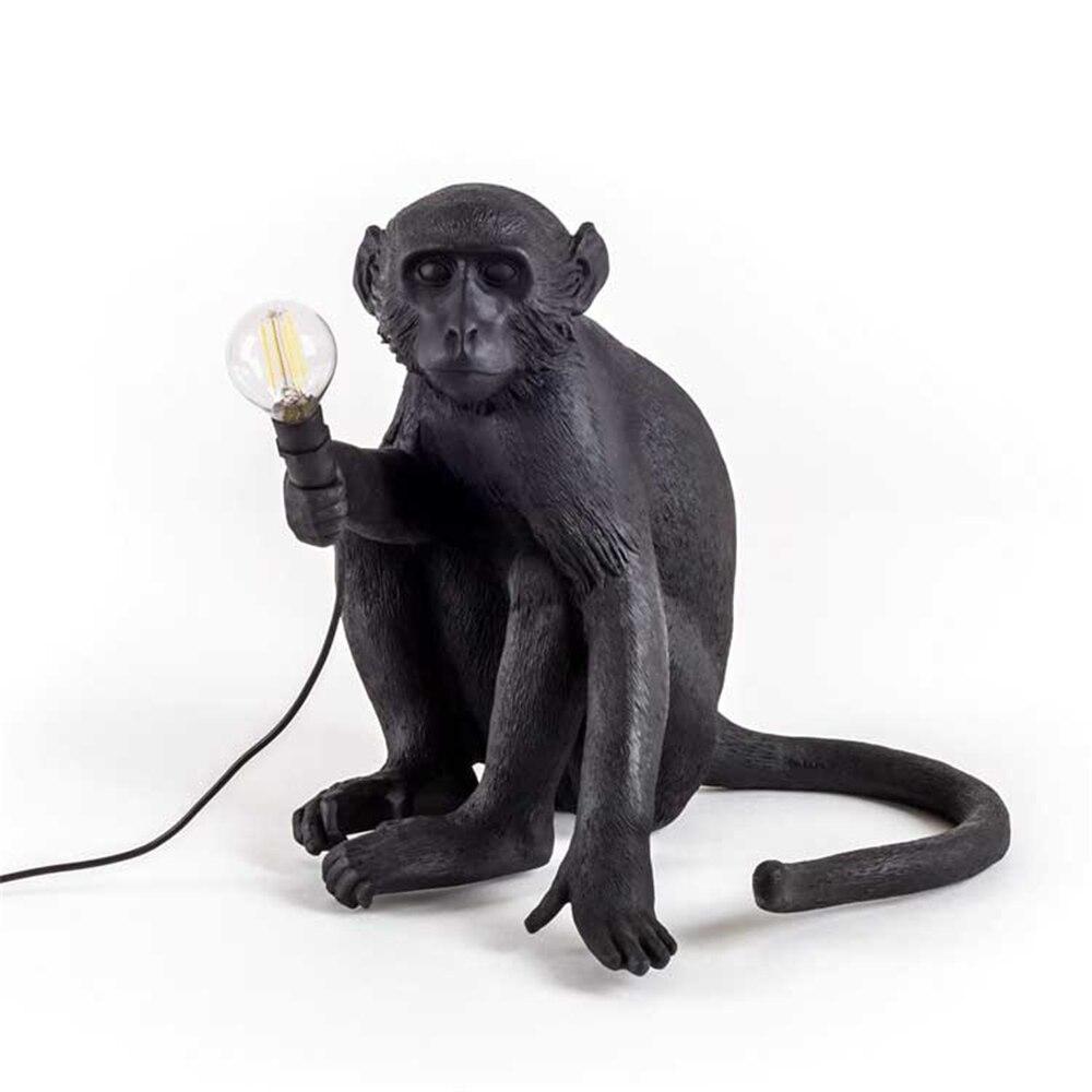 Подвесной светильник из смолы черного и белого цвета с изображением обезьяны для гостиной, художественный салон, кабинет, светодиодный све... - 3