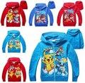 2016 Crianças das Camisolas Para Menino Pikachu Crianças Outwear Tops Vestidos Costume 3-10Y Meninos Hoodies Dos Desenhos Animados Pokemon Go Roupas