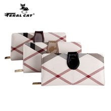 FERAL CAT Womens Wallets Purses Plaid PVC Leather Long Wallet Hasp Phone Bag Money Coin Pocket Card Holder Female Purse