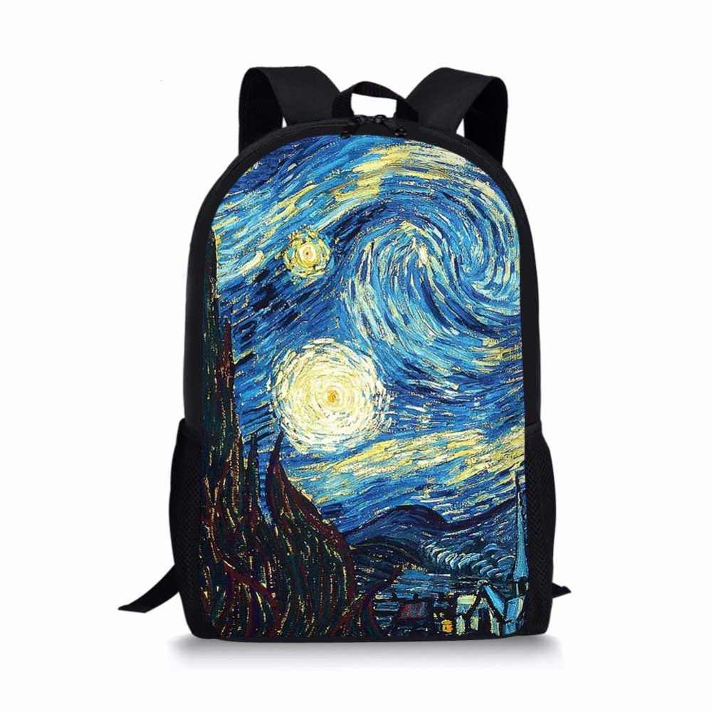 Van Gogh Famous oil Painting Women Children School Bags for Teen Boy Girls Students Pencil Bag Backpack Mochila Escolar laptop