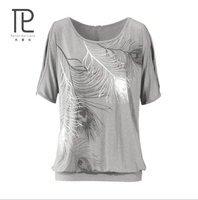 Tailor Pal Love Summer Women T Shirt Feather Strapless Casual T Shirts O Neck Loose Short