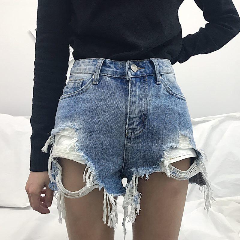2018 Summer Women   Shorts   Ripped Jeans High Waist Loose Blue Sexy & Club Denim   Short   Feminino with Hole Plus Size 3XL 4XL 5XL