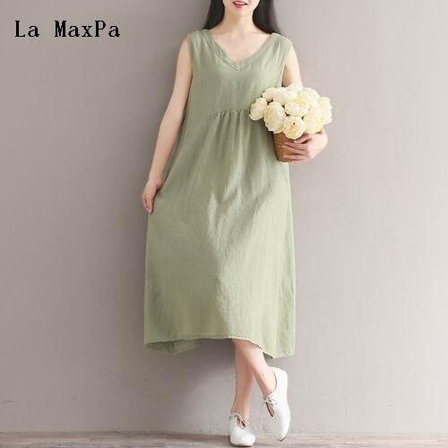f7534cf051f7 € 13.07 49% de DESCUENTO Verano algodón vestido de lino para las mujeres V  cuello color puro retro sundress sin mangas casual suelta Femme robe ...