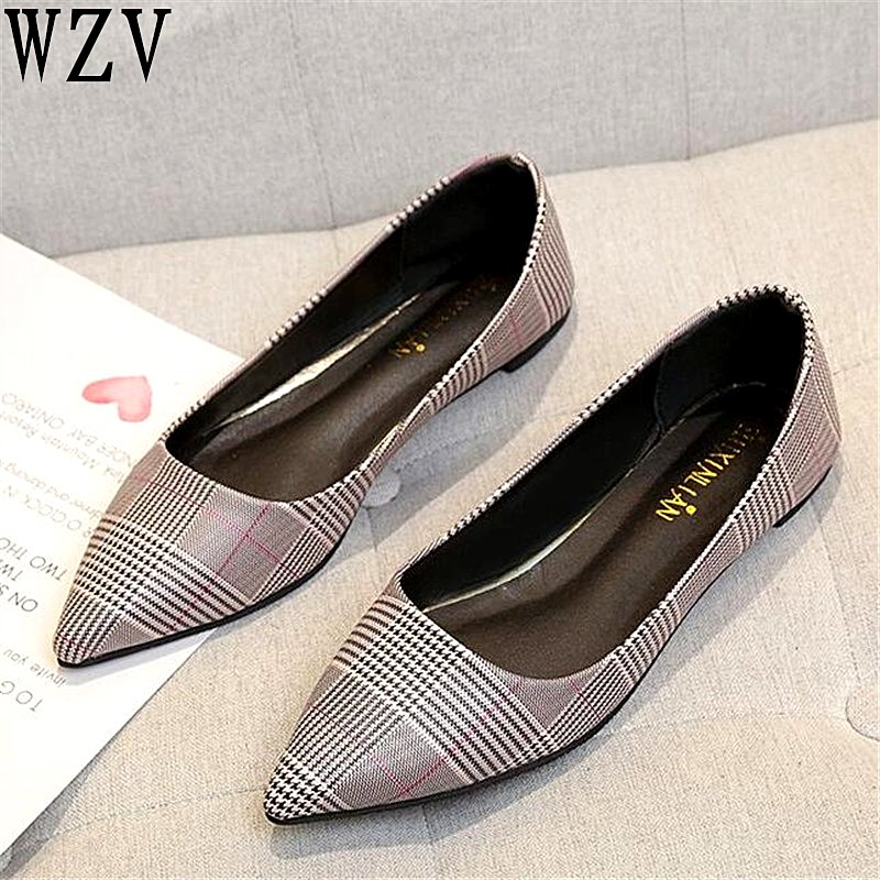 2019 Spring Woman Flats Shoes Slip On Women Pointed Toe Single Shoes fashion Ladies shoes Footwear Zapatos Mujer E518