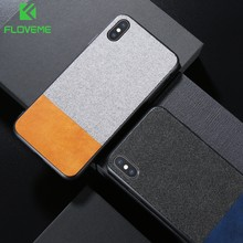 Floveme Kain Kulit Case untuk iPhone X XR X Max Mewah Lembut TPU Cover UNTUK iPhone 8 7 6 6 S Plus Mobile Phone Bag Case Coque Fundas(China)