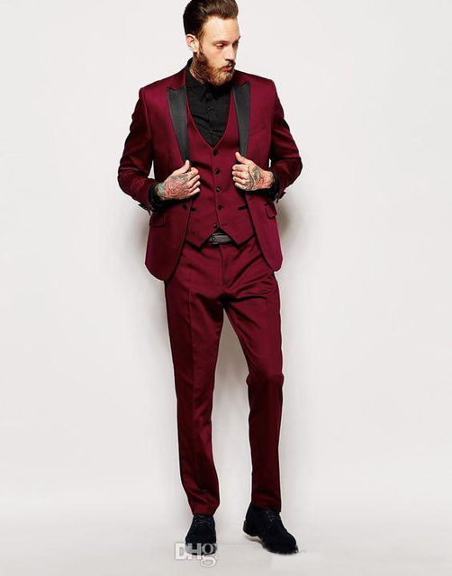High Quality One On Dark Red Groom Tuxedos Peak Lapel Groomsmen Best Man Suits Mens Wedding