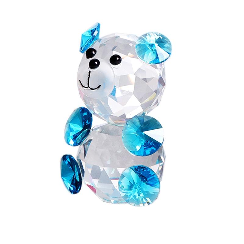 Handmade K9 Crystal Colorful Bear Miniature Figurine Glass Craft Animal Paperweight Home Decor Wedding Gift Ornament Kids Toy figurine
