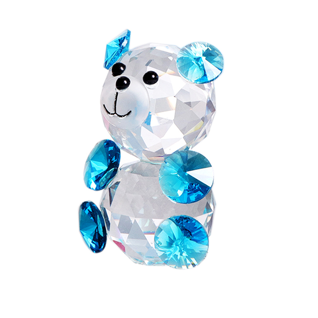 Handmade K9 Crystal Colorful Bear Miniature Figurine Glass Craft Animal Paperweight Home Decor Wedding Gift Ornament Kids Toy