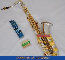 professional Silver Gold Tenor Saxophone High F# SAX With Case Metal Mouthpiece